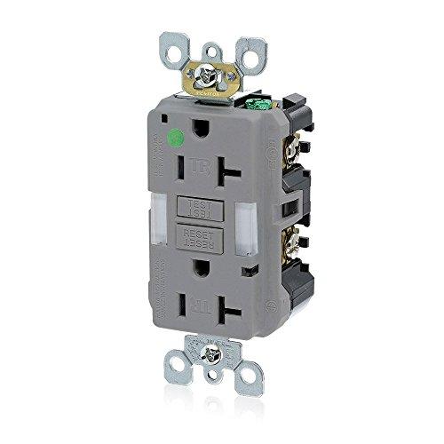 - Leviton GFNL2-HGG 20A-125V Hospital Grade Tamper-Resistant Guide Light Duplex Self-Test GFCI Receptacle, Gray, 20-Amp