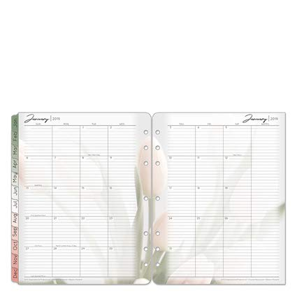 Monarch Blooms Two Page Monthly Ring-Bound Tabs - Jan 2019 - Dec 2019 ()