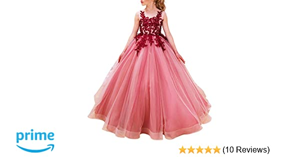 Amazon.com  Luxury Burgundy Ball Gown Pageant Dresses for Girls Floor  Length Flower Puffy Tulle Prom Wedding Birthday Party  Clothing ddbafe553175