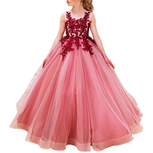 (Luxury Burgundy Ball Gown Pageant Dresses for Girls Long Flower Puffy Tulle Prom Wedding Birthday Party)