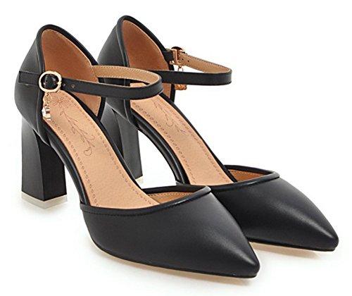 Aisun Femmes Habillé Boucle Bout Pointu Chunky Haut Talon Dorsay Pumps Chaussures Avec Bride À La Cheville Noir