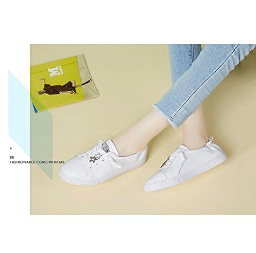 Damen-Leder-Flat - Bottomed Schuhe Mode Einfache Laufschuhe Studenten Freizeit Breathable Skateboard Schuhe ( Farbe : Gold , größe : 39 ) Silber