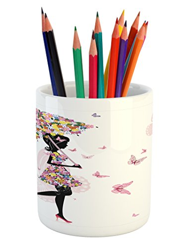 Ambesonne Girls Pencil Pen Holder, Girl with Floral Umbrella
