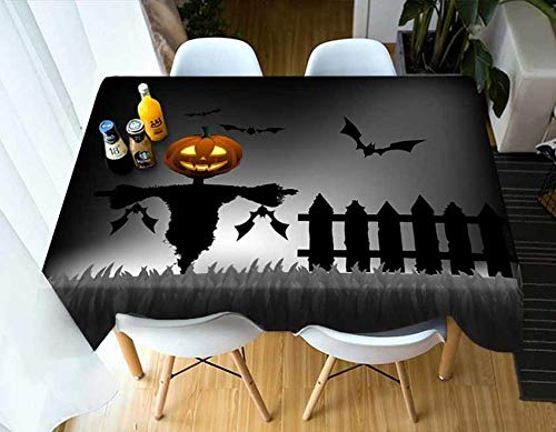 Meijuner Customize Tablecloth Colored Floral Bat Pattern Dust-proof Thicken Rectangular Table cloth For X-mas Halloween Decor  2 B07SNSXL6B