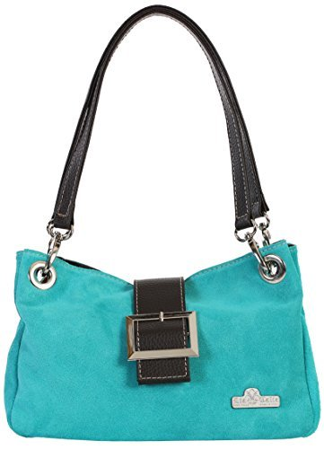 LiaTalia Real Italian Suede Small Leather Bag with Faux Trim Cotton Lining and a Protective Dust Storage Bag - Pixie [Turquoise - Brown Trim]
