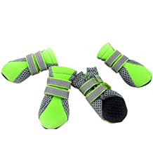 GOGO Dog Boots With Reflective Velcro Straps, Soft Sole Nonslip Mesh Boots, Breathable Paw Protector-LIME-L
