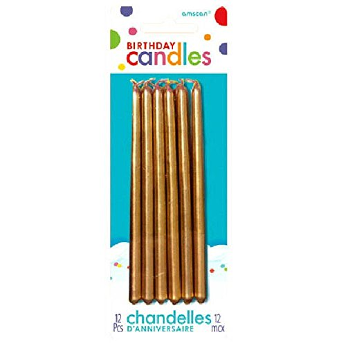 Gold Birthday Candles - Party Time Tapered Birthday Candles, Pack of 12, Gold, 5