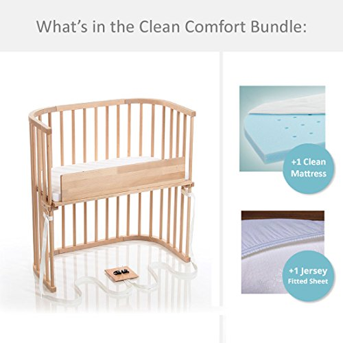 babybay Bedside Sleeper Clean Comfort Bundle in Light Gloss by babybay