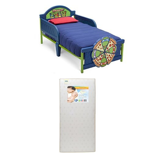 Delta Children 3D-Footboard Toddler Bed, Nickelodeon Ninja Turtles  with Twinkle Stars Crib & Toddler Mattress