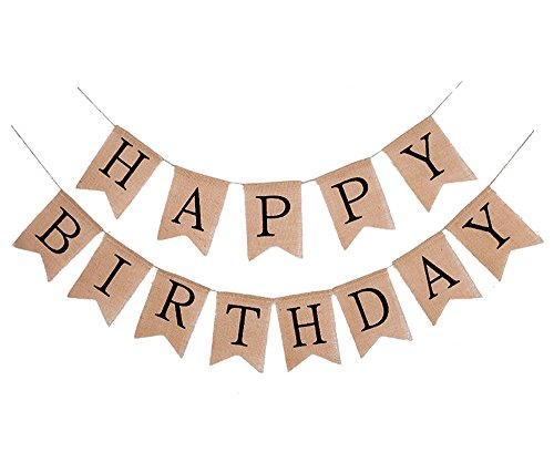 FECEDY Alphabet Happy Birthday Burlap Banner for Birthday Party Decorations (Black Alphabet)