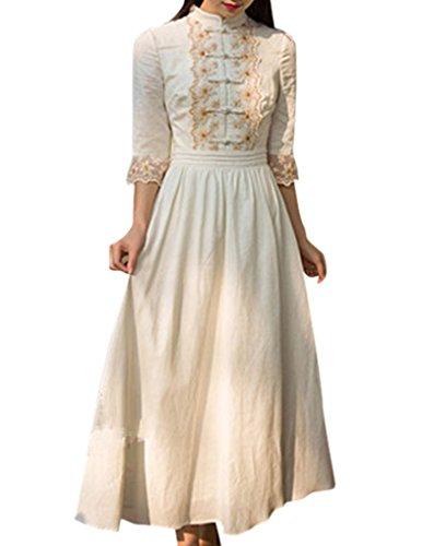 JOLLYCHIC Women's Mandarin Collar Floral Retro Party Bohemian Maxi Dress Size 8 US Beige
