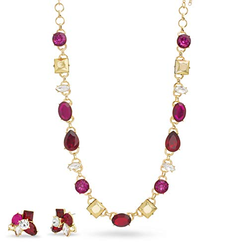 Catherine Malandrino Multicolor Rhinestone Cluster Yellow Gold -Tone Necklace and Earring Set for Women (Red/Pink) -