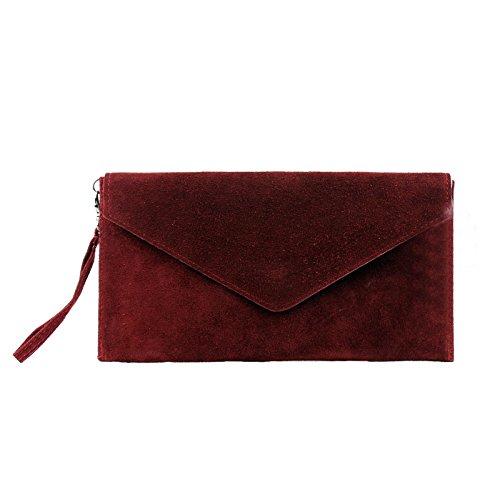 Aossta - Bolsa de mano con cierre de presión, con forma de sobre grande, de ante italiano, bolsa para fiestas, bodas rojo oscuro