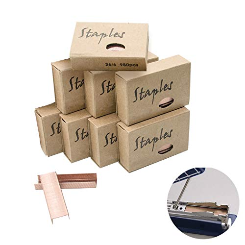 8Pcs Premium Standard Staples - Rose Gold 26/6 Staples 12mm Width 950/Box, 8 Boxes/Pack 7600 Count by Hatisan