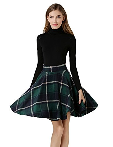 Check Print Skirt (Tanming Women's High Waisted Wool Check Print Plaid Aline Skirt (Large, Green TM2))
