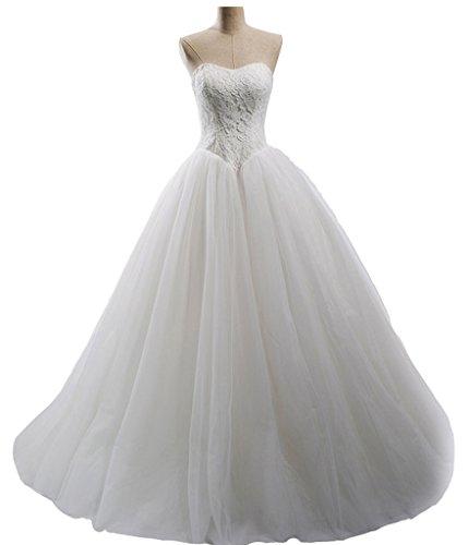 Snowskite Womens Elegant Strapless Sweetheart Lace Tulle Wedding Bridal Dress Ivory 28