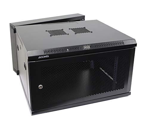 AEONS 6U Professional Wall Mount IT Cabinet Enclosure Double Section Hinged Swing Out 19-Inch Server Network Rack with Vented Door 22-Inches Deep Black (Fully Assembled)