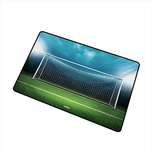Waterproof Door mat Soccer Soccer Goal Post Sports Area Winner Loser Line Floodlit Best Team Finals Game Theme W30 xL39 Durable]()