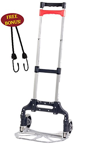"Hand Truck, Folding Aluminum Cart, Movers Dolly For All Your Moving Needs Lifts up to 150 Lbs, + 1 Free 24"" Bungee Cords, By Bovado USA"