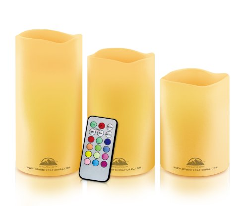 WBM HG1203 Himalayan Glow Wave Top Pillar Flameless Candles with 18 Keys Remote Control, 3-Piece