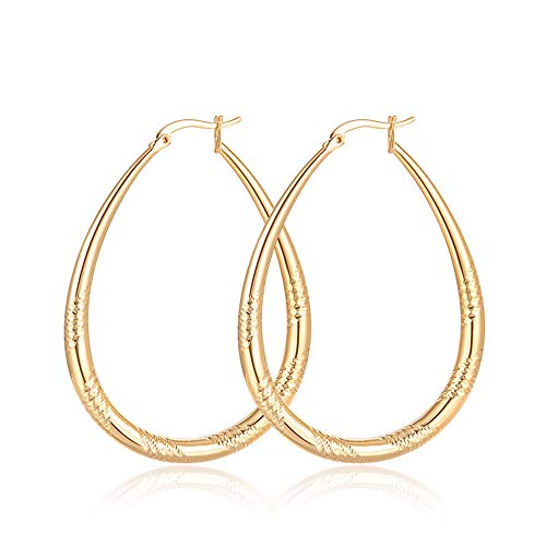 Moocai Vintage Oval Teardrop Big Hoop Earring Gold Color Carved Small Water Drop Loop for Women Girl Fashion Jewelry 40mm Hypoallergenic Nice Gift