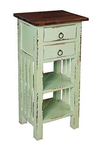 Sunset Trading CC-TAB170TLD-BHRW Shabby Chic Cottage Table, Two Drawer, Bahama with Raftwood Top ()