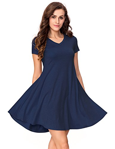 One Sight Women's T-shirt Dress with Pockets V Neck Short Sleeve Loose Swing Dress, Navy Blue, - Sight One