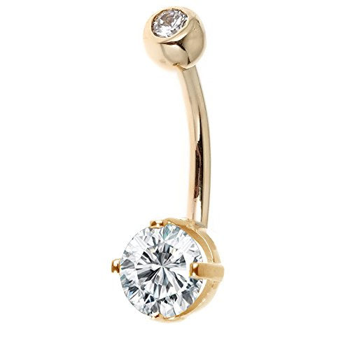 14k Solid Gold Belly Button Top Bottom Cubic Zirconia Navel Barbell Ring (yellow-gold) ()