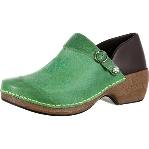 4EurSole Work Shoe Women Western Embellished Clog Green RKYH031