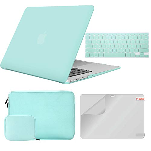 """MacBook Pro 13 Case (2018&2017&2016) Release A1989/A1706/A1708 Bundle 4 in1, iCasso Hard Shell Case,Water Repellent Sleeve Bags, Screen Protector&Keyboard Cover Compatible Newest Mac Pro 13"""" -Green"""