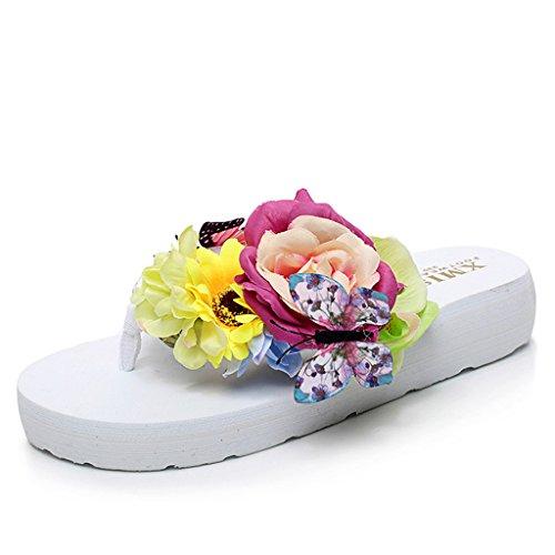 Eagsouni® Damen Mädchen Böhmen süße Blume Plateau Sandalen Pantoletten Flip Flops Keilabsatz Zehentrenner Sommer Freizeit Strandschuhe Hausschuhe #1Weiß