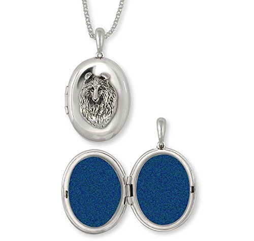 Collie Jewelry Sterling Silver Collie Photo Locket Handmade Dog Jewelry COL6-V