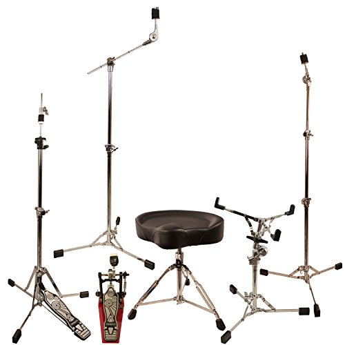 (ChromaCast Retro Double Braced Drum Hardware Pack with Pro Series Chain Drive Pedal & Throne (CC-RS-KIT-3))