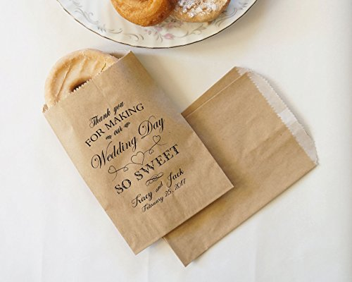 Wedding Donut Bags, Cookie Bags, Party Favor, Dessert Table, Bakery Bags, Wedding Kraft Paper Bags - Personalized - Lined, Grease Resistant - Set of 25 (Personalized Wedding Favor Bags)
