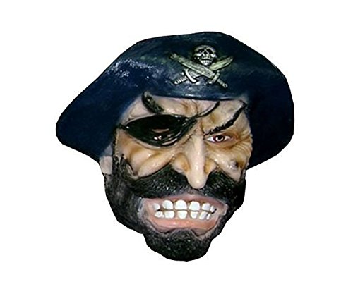 Teen Treasure Island Pirate Costumes (Realistic Pirate Mask With Black Hat Overhead Latex Costume & Accessories - Item #106017)