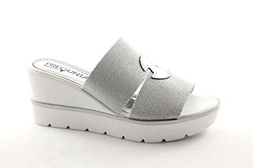 PREGUNTA IG9306 sandalias de cuero de la mujer de plata terminal de cuña elástica Bianco