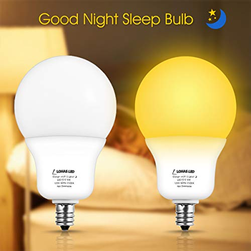 LOHAS Sleep Aid Light Bulb, A19 LED Goodnight Yellow No Bulb Light, 6W Sleeping Ready Lamp, Amber Yellow 2500K 40W Replacement, 500 Lumens Non-Dimmable Night Lights for Bedroom, Kids, Nursery(2Pack)