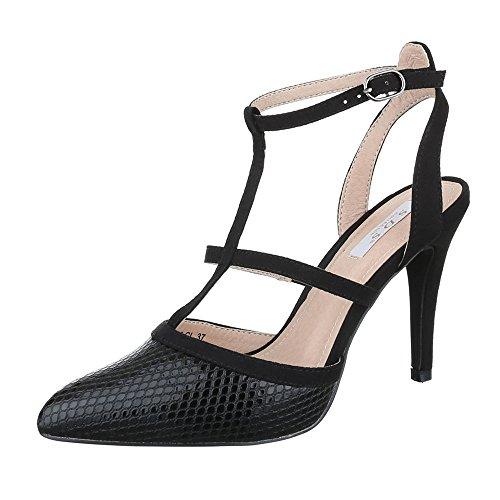 Ital-Design High Heel Sandaletten Damen Schuhe Plateau Pfennig-/Stilettoabsatz High Heels Schnalle Sandalen/Sandaletten Schwarz