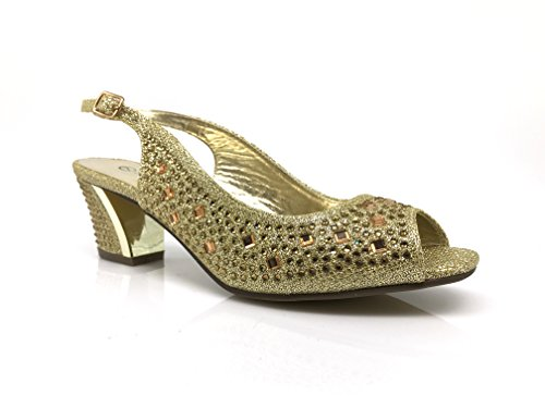 Lime01 Womens Open Toe Low Heel Wedding Rhinestone Wedge Sandal Shoes (10, Gold)