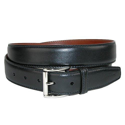 CrookhornDavis Men's Mignon Garrison Grain Calfskin Feather Edge Belt, 36, Black