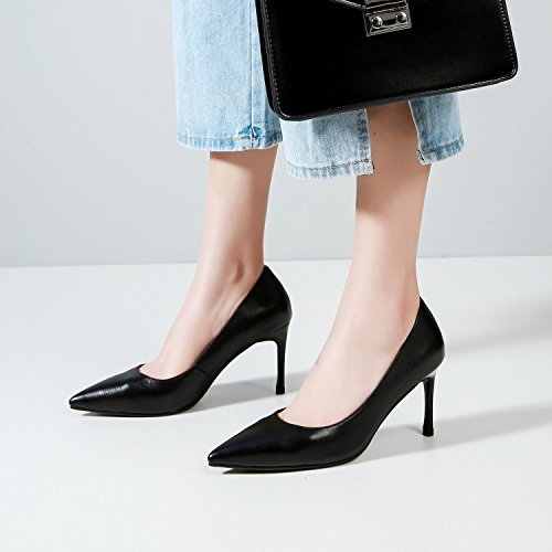 shallow 8cm sottile nero Alla 38 39 scarpe Moda Sandali punta tacchi AJUNR alti Donna solo Da Scarpe zw7nqBUv