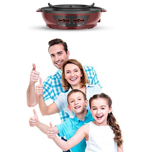 YFJL Reunion Hot Pot, Shabu-Shabu, Non-Stick Non-Smoke Electric Hot Pot Household Cooking 45Cm Oversized Electric Wok,Separationpot