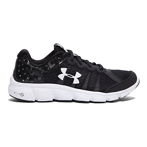 Under Armour Boys' Grade School Micro G Assert 6 Running Shoes, Black/White V1, 5.5 (Black Under Armour Youth Shoes)