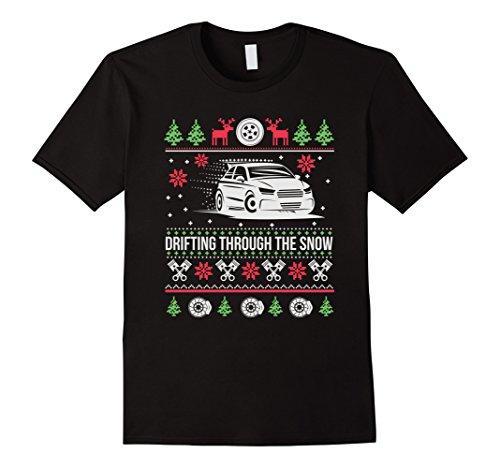 Mens Ugly Christmas Drifting Through The Snow T-Shirt 3XL Black (Drifting Snow)