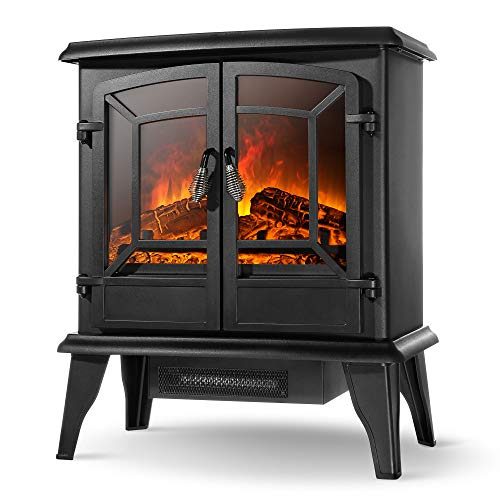 "Della 20"" Freestanding Portable Electric Fireplace Stove Heater Infrared Quartz Heat Log Flame Realistic Flame Effect 1400W - CSA Certified - Overheating Safety Protection, Black"