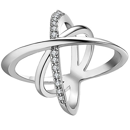 LWLH Jewelry Womens 18K White Gold Plated Cubic Zirconia Double Pave CZ