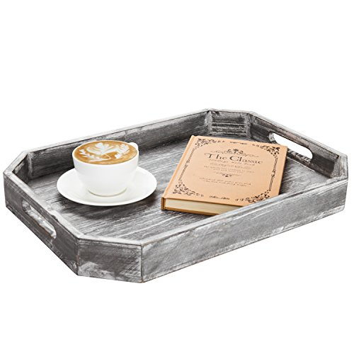 MyGift Country Rustic Wood Serving Tray with Cutout Handles and Angled Edges by MyGift (Image #3)