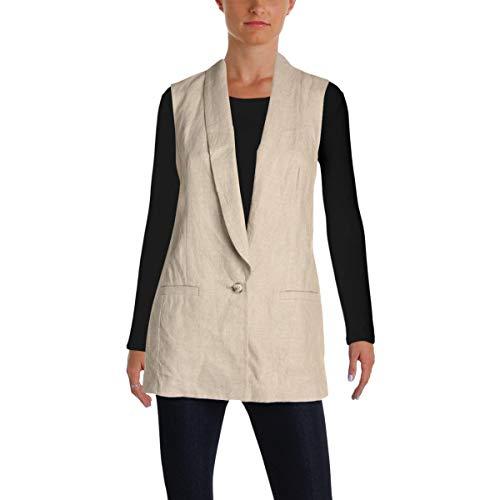 - Michael Michael Kors Womens Linen Shawl Collar Vest Beige 0
