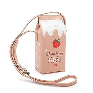 Women PU Leather Cute Milk Box Crossbody Bag Casual Phone Purse