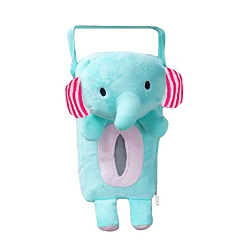 Xiaolanwelc@ 4 Colors Cute Animal Car Tissue Holder Back Hanging Tissue Box Covers Napkin Paper Towel Box Holder Case Paper Towel Holder (Elephant)